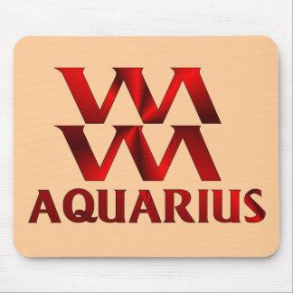 Red Aquarius Horoscope Symbol Mouse Pad