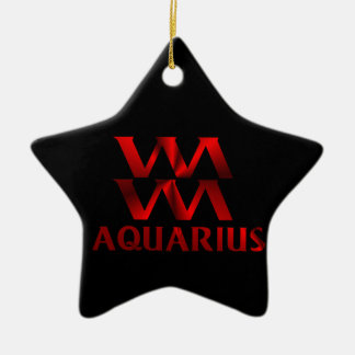 Red Aquarius Horoscope Symbol Double-Sided Star Ceramic Christmas Ornament