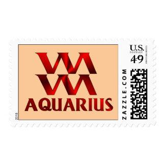 Red Aquarius Horoscope Symbol Stamps