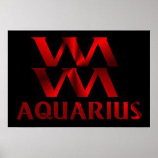 Red Aquarius Horoscope Symbol Poster