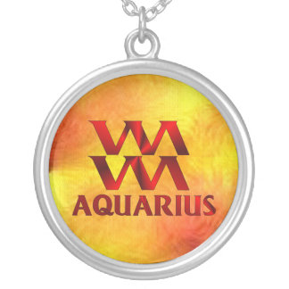 Red Aquarius Horoscope Symbol Silver Plated Necklace