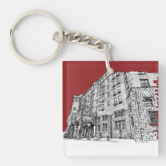 Red architectural ink keychain
