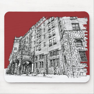 Red architectural ink mouse pad