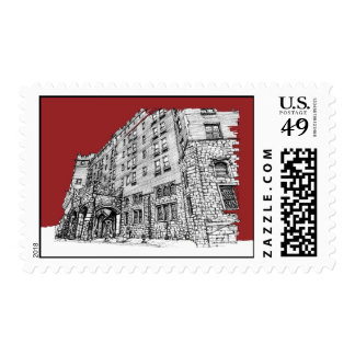 Red architectural ink postage