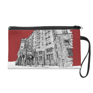 Red architectural ink wristlet clutch