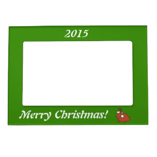 Red Arctic Hare with Christmas Green Santa Hat Magnetic Picture Frames