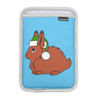 Red Arctic Hare with Christmas Green Santa Hat Sleeve For iPad Mini