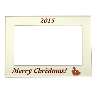 Red Arctic Hare with Red Santa Hat Magnetic Photo Frame