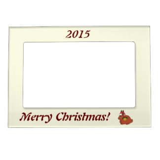Red Arctic Hare with Santa Hat & Gold Bell Magnetic Frame