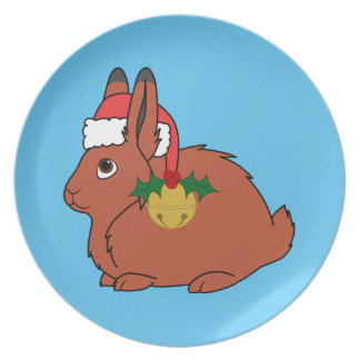 Red Arctic Hare with Santa Hat & Gold Bell Melamine Plate
