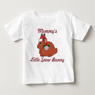 Red Arctic Hare with Santa Hat & Silver Bell Baby T-Shirt