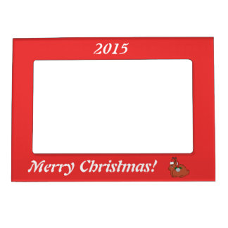 Red Arctic Hare with Santa Hat & Silver Bell Magnetic Frame