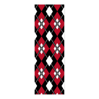 Red Argyle Bookmark Pack Of Skinny Business Cards