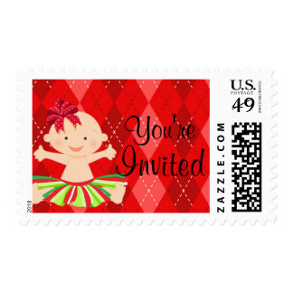 Red Argyle Christmas Baby In Tutu Postage Stamp