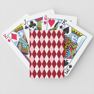 Red Argyle Crimson Pink Small Diamond Shape Bicycle Playing Cards