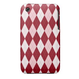 Red Argyle Crimson Pink Small Diamond Shape Case-Mate iPhone 3 Case