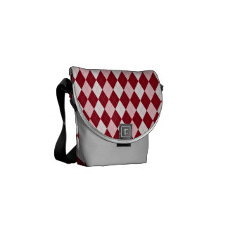 Red Argyle Crimson Pink Small Diamond Shape Courier Bag