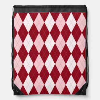 Red Argyle Crimson Pink Small Diamond Shape Drawstring Backpack
