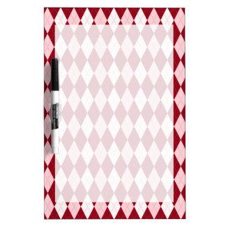 Red Argyle Crimson Pink Small Diamond Shape Dry-Erase Board