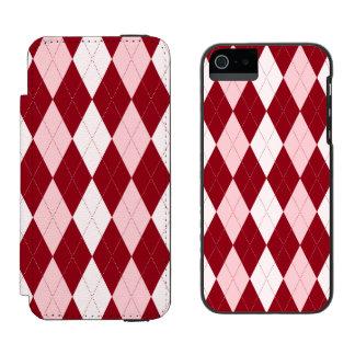 Red Argyle Crimson Pink Small Diamond Shape iPhone SE/5/5s Wallet Case