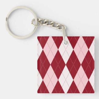 Red Argyle Crimson Pink Small Diamond Shape Double-Sided Square Acrylic Keychain