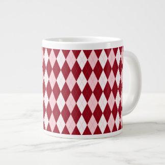 Red Argyle Crimson Pink Small Diamond Shape Large Coffee Mug