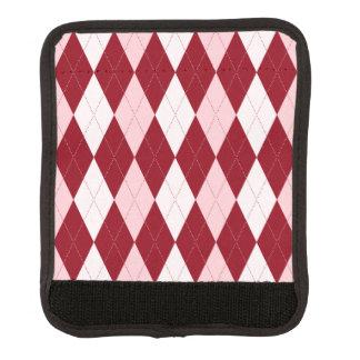 Red Argyle Crimson Pink Small Diamond Shape Luggage Handle Wrap