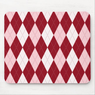 Red Argyle Crimson Pink Small Diamond Shape Mouse Pad