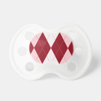 Red Argyle Crimson Pink Small Diamond Shape Pacifier