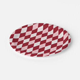 Red Argyle Crimson Pink Small Diamond Shape Paper Plate