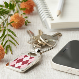 Red Argyle Crimson Pink Small Diamond Shape Silver-Colored Rectangular Metal Keychain