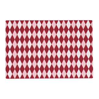 Red Argyle Crimson Pink Small Diamond Shape Placemat