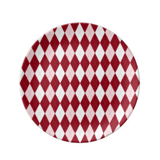 Red Argyle Crimson Pink Small Diamond Shape Plate