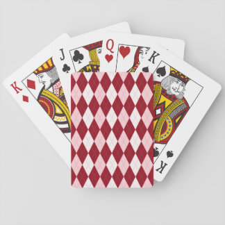 Red Argyle Crimson Pink Small Diamond Shape Playing Cards
