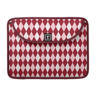 Red Argyle Crimson Pink Small Diamond Shape Sleeve For MacBook Pro