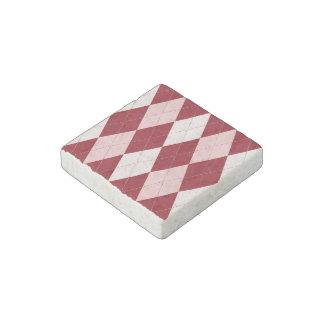 Red Argyle Crimson Pink Small Diamond Shape Stone Magnet