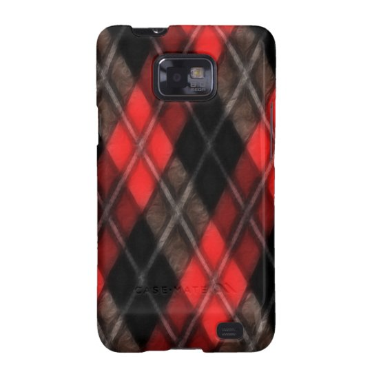 Red Argyle Fractal Galaxy S2 Cover