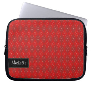 Red Argyle Laptop Sleeve with Your Name