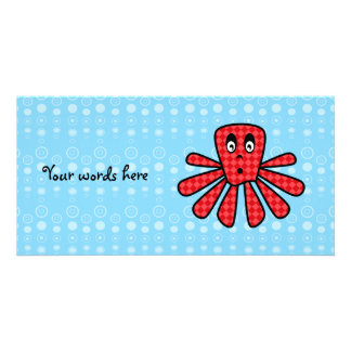 Red argyle octopus on blue bubbles photo card