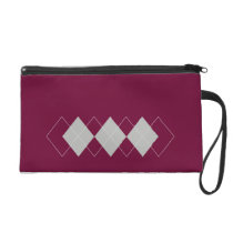 red argyle pattern wristlet purse