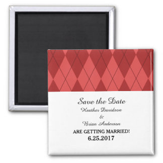 Red Argyle Save the Date Magnet