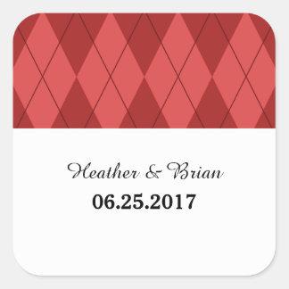 Red Argyle Wedding Stickers