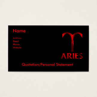 Red Aries Horoscope Symbol Business Card