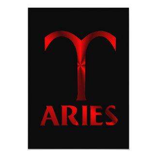 Red Aries Horoscope Symbol Card