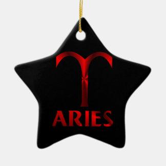 Red Aries Horoscope Symbol Ceramic Ornament