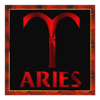 Red Aries Horoscope Symbol 5.25x5.25 Square Paper Invitation Card