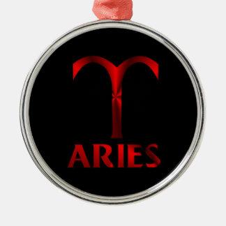 Red Aries Horoscope Symbol Metal Ornament