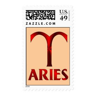 Red Aries Horoscope Symbol Postage Stamp