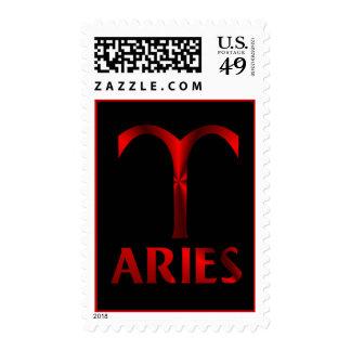 Red Aries Horoscope Symbol Stamp