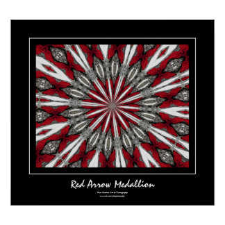 Red Arrow Medallion Black Border Poster